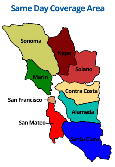 Same day coverage areas throughout the bay area