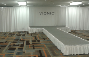 stage setup of an indoor conference runway or walkway